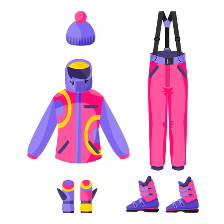 Set of skiing, snowboarding outfit - jacket, pants, gloves, boots, beanie hat, flat vector illustration isolated on white background. Flat vector set of skiing, snowboarding clothing, garment, outfit