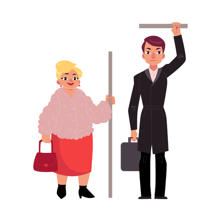 Plump middle age woman and Businessman holding briefcase standing in subway, holding handrail, cartoon vector illustration isolated on white background. Full length portrait of funny Ilustração