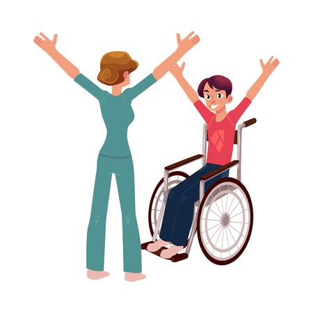 Medyczna rehabilitacja, terapeuta robi naprawczej gimnastyce z młodym człowiekiem w wózku inwalidzkim, kreskówki wektorowa ilustracja na białym tle. Rehabilitacja medyczna, fizykoterapia, gimnastyka lecznicza