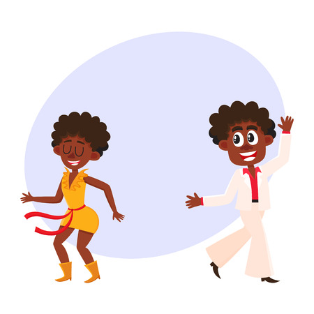 Black, African American couple, man and woman, dancing dicso, cartoon vector illustration with space for text. Young black African American man and woman dancing together at retro disco party