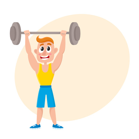 Young man doing shoulder press with barbell, training, weightlifting in gym, cartoon vector illustration with space for text. Cartoon man, guy training with barbell, bodybuilding in gym Ilustração