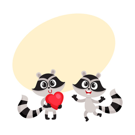 Two little raccoon characters, one holding big red heart, another jumping from happiness, cartoon vector illustration with space for text. Happy little raccoon friends showing joy and love Illusztráció