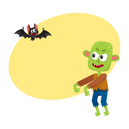 Halloween monsters - green zombie and vampire bat, cartoon vector illustration with space for text. Green monster, zombie and vampire bat, traditional Halloween symbol Иллюстрация