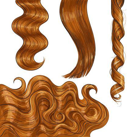 반짝이 오래 빨간색 공정한 스트레이트 및 물결 모양의 머리 컬, 스케치 스타일 벡터 일러스트 레이 션 흰색 배경에 고립의 집합입니다. 집합 손으로 그려진 현실적인 건강, 반짝이 빨간, 아마 머리 머리카락 컬 스톡 콘텐츠 - 81950052