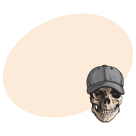 Hand drawn human skull wearing grey colored unlabelled baseball cap, sketch vector illustration with space for text. Realistic hand drawing of skull wearing baseball cap Illustration