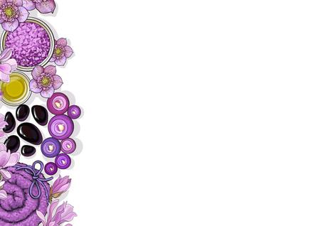Plantilla de la bandera con el borde de los accesorios y las flores del salón del balneario de la visión superior en el fondo blanco, ejemplo del vector del bosquejo. Diseño de banner con accesorios de spa - aceite de masaje, velas, toallas, flores Foto de archivo - 81950057