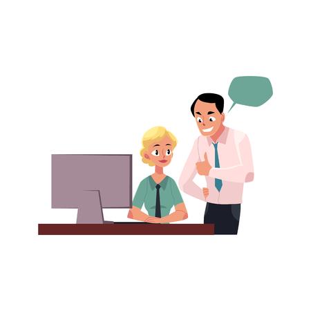Capo di gestione dipendente femminile, donna che lavora al computer, illustrazione vettoriale cartoon isolato su sfondo bianco. Boss che mostra l'approvazione per l'impiegato femminile, le bolle di discorso Archivio Fotografico - 81950062