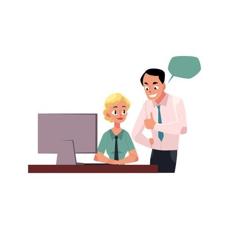 Boss managing female employee, woman working on computer, cartoon vector illustration isolated on white background. Boss showing approval to female employee, speech bubbles