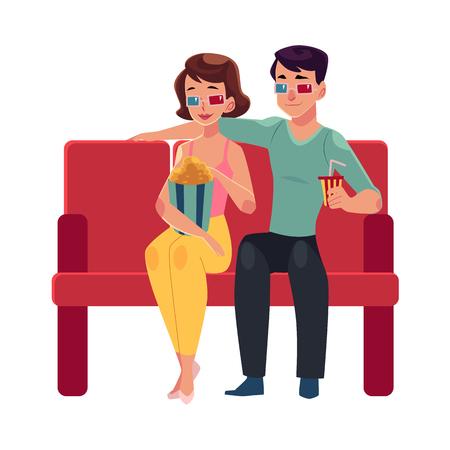 映画館、映画館ポップコーン、ドリンク、3 d メガネ、白い背景で隔離の漫画ベクトル図でカップル席。家族、カップル、映画館、男と女の映画の日