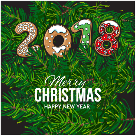 glaze: 2018 Merry Christmas, New Year greeting card design with gingerbread cookies on fir tree branches background. Christmas, New Year greeting card, banner with gingerbread cookies, fir tree branches
