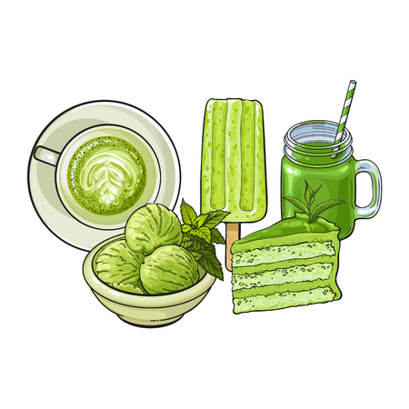 Hand drawn food with matcha green tea - ice cream, cake, latte, drink, sketch vector illustration isolated on white background. Hand drawn matcha tea food - popsicle, cake, cappuccino, cocktail drink