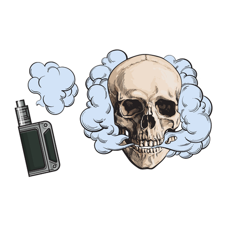 Smoke coming out of fleshless skull and vape, vaping device, sketch style vector illustration isolated on white background. Hand drawn smoking skull and smoke coming out of vaping device