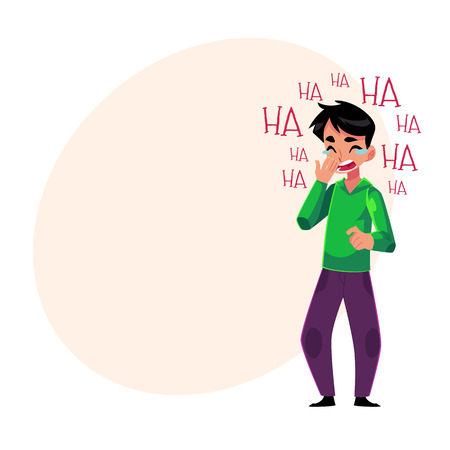 laugh out loud: Young man laughing out loud, crying from laughter holding mouth, cartoon vector illustration with space for text. Full length portrait of young man bursting with laughter, laughing to tears Illustration