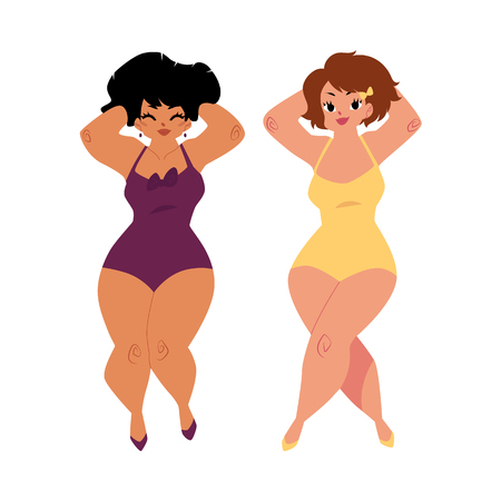 plump, curvy women, girls, plus size models in swimming suits, top view cartoon vector illustration isolated on white background. Beautiful plump, overweight women, girls in swimming suits Stock Photo