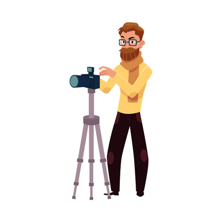 Photographer taking pictures, shooting in studio, using digital camera and tripod, cartoon vector illustration on white background. Full length portrait of professional photographer working in studio Stok Fotoğraf