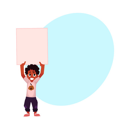 Little black, African American boy, child, kid holding blank empty poster over head, cartoon vector illustration with space for text. Little black boy holding empty, blank poster over head
