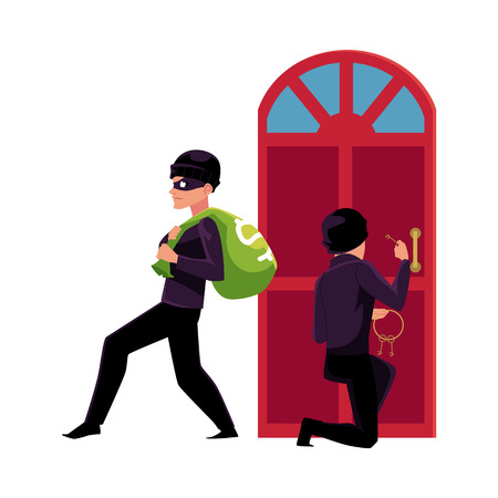 Thief, burglar, robber breaking in house, walking away with money bag, cartoon vector illustration isolated on white background. Burglar, robber, thief breaking into house, going away with money