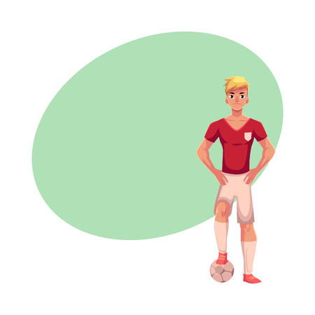 サッカー ボール、テキスト用のスペースと漫画ベクトル図に片足で制服立ちのサッカー選手。サッカー ボールの上に片足でプロのサッカー選手の直  イラスト・ベクター素材