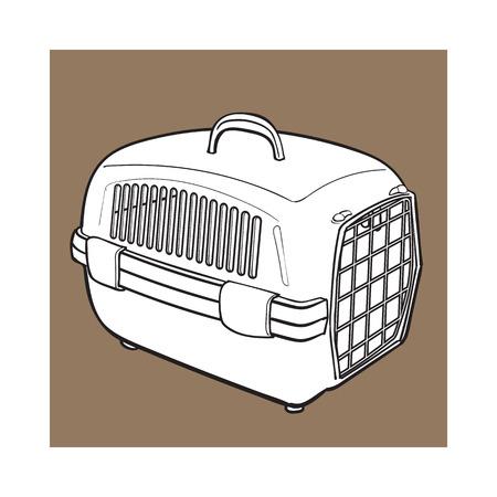 고양이, 개, 운반 갈색 배경에 고립 된 스케치 스타일 벡터 일러스트 레이 션을위한 플라스틱 애완 동물 여행 항공사. 손으로 그려진 된 플라스틱 애완