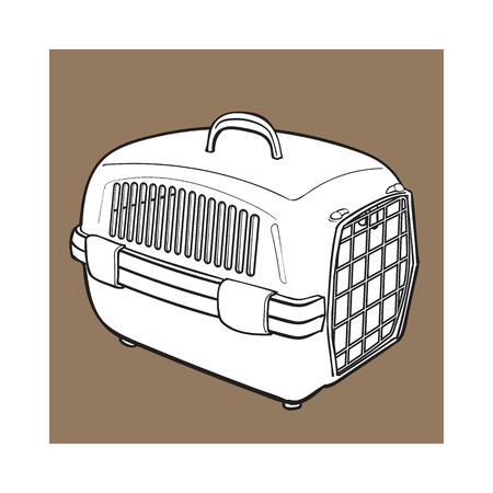 Plastic pet travel carrier for transporting cats, dogs, sketch style vector illustration isolated on brown background. Hand drawn plastic pet carrier, transport, housing on brown background Çizim