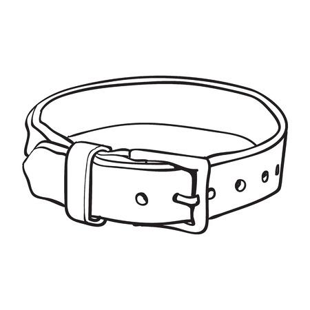 Huisdier, kat, hond bruin lederen kraag met metalen gesp, zwart en wit schets stijl vectorillustratie geïsoleerd op een witte achtergrond. Handgetekende huisdier, halsband met gesp van dik leer