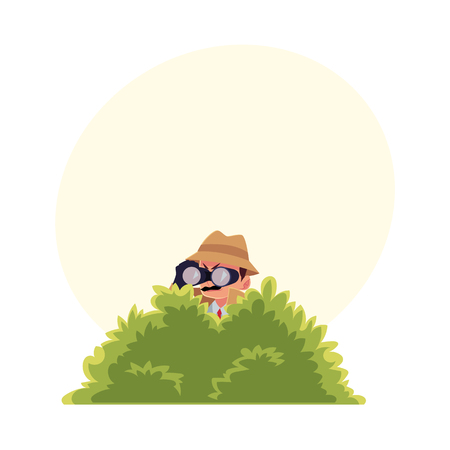 Funny detective character looking through binoculars from bush, spying, cartoon vector illustration with space for text. Full length portrait of funny detective character at surveillance work