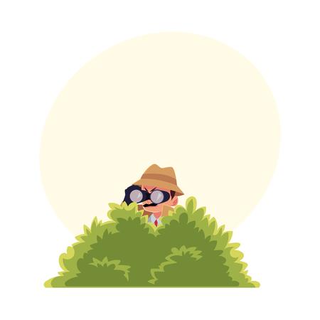 Personaje de detective divertido mirando a través de binoculares de arbusto, espionaje, ilustración vectorial de dibujos animados con espacio para texto. Retrato de cuerpo entero de personaje de detective divertido en el trabajo de vigilancia Foto de archivo - 81953983