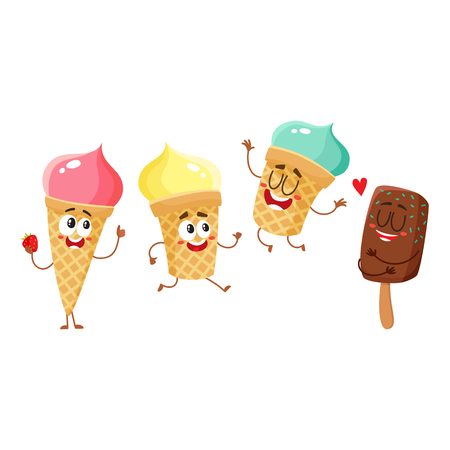 Cute and funny ice cream characters, cones, popsicles with smiling human faces, cartoon vector illustration isolated on white background. Set of colorful ice cream characters, mascots Imagens - 82041683