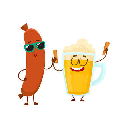 Funny beer glass and frankfurter sausage characters having fun together, cartoon vector illustration isolated on white background. Funny smiling beer glass character and sausage poiting to it Stock Photo