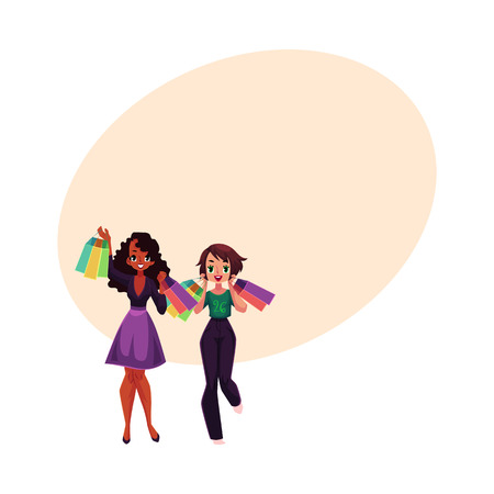 happy shopper: Two happy black and Caucasian women, girls, friends with shopping bags, cartoon vector illustration with space for text. Couple of girls, women with shopping bags, happy shopping concept