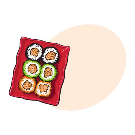 일본 스시 세트, 상위 뷰의 접시 손 그리기, 스타일 벡터 일러스트 레이 션에 대 한 공간을 가진 스케치. 초밥 접시, 아시아, 중화 요리, 일식