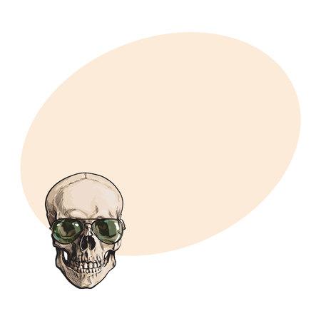 손으로 그려진 된 인간의 두개골 녹색 aviator 선글라스를 착용 하 고, 텍스트위한 공간 스타일 벡터 일러스트 레이 션을 스케치합니다. 선글라스 착용