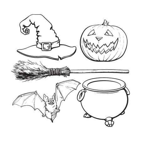 attribute: A black and white witch accessories - pointed hat, caldron, jack o lantern, broom, bat, Halloween decoration elements, sketch vector illustration isolated on white background.