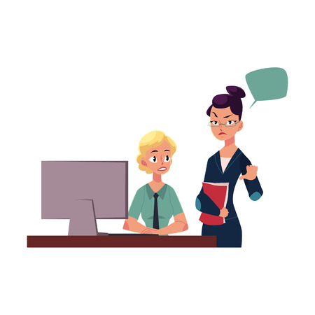 Displeased female boss managing employee working on computer, cartoon vector illustration isolated on white background. Woman boss showing disapproval to female employee working in office Illustration