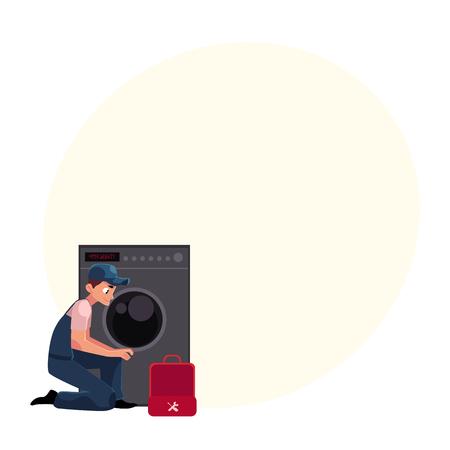 도구 상자 고정, 복구 세탁기, 세탁기, 텍스트위한 공간 벡터 만화 일러스트를 배관 전문가 배관. 배관공, 수리 전문가 수리, 세탁기 수리