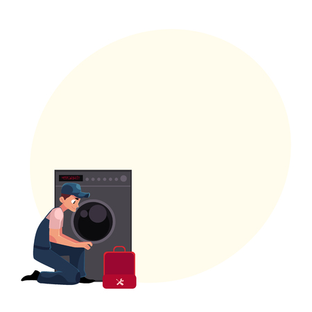 Plumbing specialist with toolbox fixing, repairing washer, washing machine, cartoon vector illustration with space for text. Plumber, plumbing specialist fixing, repairing washing machine