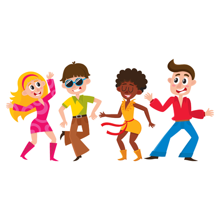 Set of retro disco dancers, black and Caucasian boys and girls, men and women, cartoon vector illustration isolated on white background. Men and women in colorful clothes dancing at retro disco party Illustration