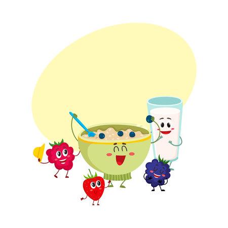 오트밀 죽과 라스베리, 블랙 베리 베리 문자, 텍스트위한 공간 만화 벡터 일러스트 레이 션의 재미 있은 미소 그릇. 우유 유리가있는 귀엽고 재미있는