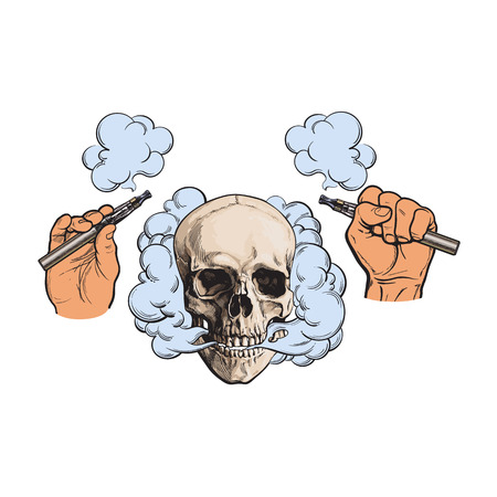 Smoke coming out of human skull and electronic cigarettes in male hands, sketch style vector illustration isolated on white background. Hand drawn hands holding e-cigarettes and smoking human skull Imagens - 82021325