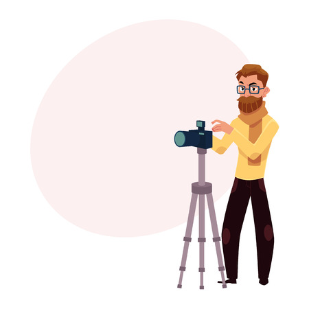 Photographer taking pictures, shooting in studio, using digital camera and tripod, cartoon vector illustration with space for text. Full length portrait of professional photographer working in studio Illustration