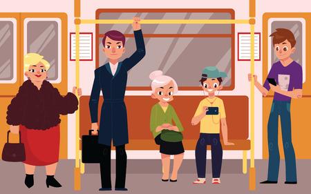 地下鉄車両、座席、立っていると保持手すりの上に座っての人々 漫画ベクトル図です。人々、男性と女性は、座っていると地下鉄の電車で立ってい