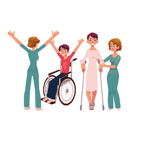 Medical rehabilitation, crunches and wheelchair, helping patients, cartoon vector illustration on white background. Medical rehabilitation, therapy, walking with crunches, wheelchair gymnastics