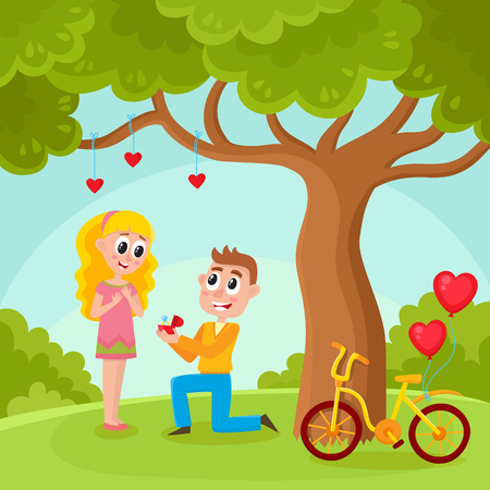 Loving couple, man proposing to pretty girl, standing on one knee, offering wedding ring in park, under big tree, cartoon, comic vector illustration. Loving couple, making proposal in the park 向量圖像