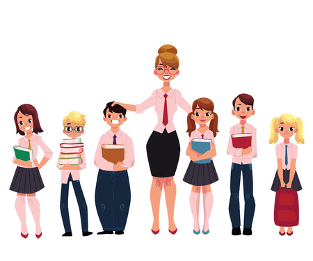 Full length portrait of female teacher standing with students, pupils, cartoon vector illustration isolated on white background. Teacher and students standing together, back to school concept Illustration