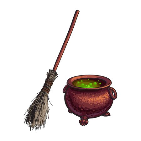 Hand drawn Halloween symbols - witch cauldron with boiling green potion and old broom, sketch vector illustration isolated on white background. Sketch style Halloween cauldron and witch twig broom