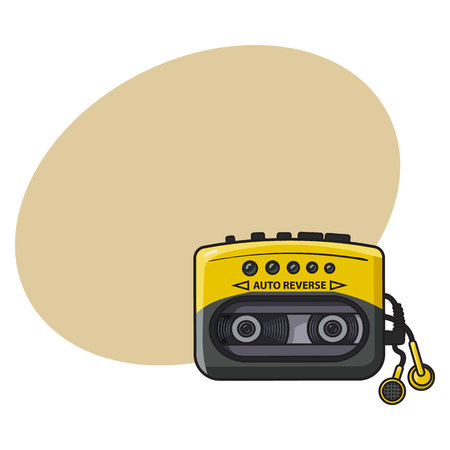 walkman: Old fashioned, retro black and yellow audio player, walkman from 90s, sketch vector illustration with space for text. Front view of hand drawn audio player, walkman with ear buds, head phones
