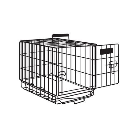 금속 와이어 케이지, 애완 동물, 고양이, 개 수송, 스케치 스타일 벡터 그림 흰색 배경에 고립에 대 한 상자. 손으로 그린 금속 와이어 개 크 레이트, 흰 스톡 콘텐츠