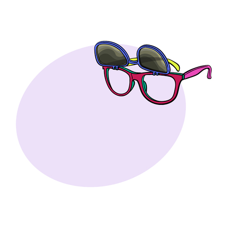 Retro wayfarer sunglasses with removable lenses, fashion accessory from 90s, sketch vector illustration with space for text. Retro sunglasses with removable lenses, personal item from 90s