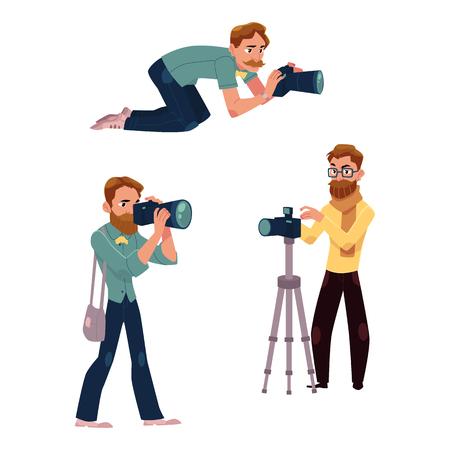 사진 작가 작업 및 전문 장비, 흰색 배경에 만화 벡터 일러스트 레이 션의 집합입니다.