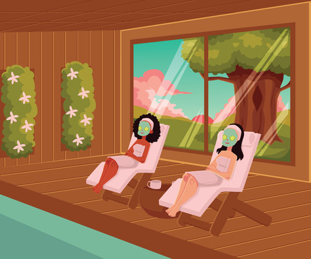 Two women relaxing in spa, lying on lounge chairs with facial mask, wrapped in towels, cartoon vector illustration. Two women, black and Caucasian, spending time in spa salon, lying in lounge chairs